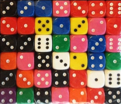 40 dice - 12mm 6 sided spot dice MIXED COLOURS