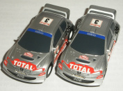 Micro Scalextric - Pair of Peugeot 206 WRC Rally Cars - 1/64th Scale Slot Cars
