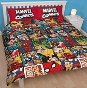 MARVEL COMICS BOOK DEFENDERS DOUBLE DUVET SET QUILT COVER REVERSIBLE BEDDING