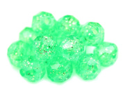 BEADTIN Mint Green Sparkle 8mm Faceted Round Craft Beads