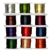 Zebra Wire Coloured Copper Wire for Wire Wrapping 12 Pack 24 Gauge 5 Yards of Each Colour