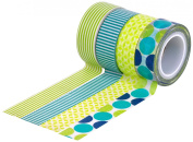 HIART Repositionable Washi Tape, Dots and Stripe Mother Nature, Green Blue, Set of 4