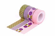 HIART Repositionable Washi Tape, Dots and Stripe, Purple/Pink, Set of 4