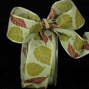 Gorgeous Green Forest Leaves Wired Craft Ribbon 3.8cm x 27 Yards