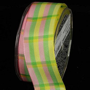 Yellow, Pink, and Lime Summer Plaid Pattern Wired Craft Ribbon 3.8cm x 27 Yards