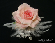 Silk Pink Rose Wedding Design Comb