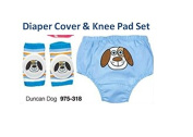 Adorable Nappy Cover & Knee Pad Set - Duncan Dog Nappy Cover - Avon's Duncan Dog Nappy Cover & Knee Pad Set