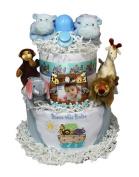 Babygiftidea Decorative Centrepiece Newborn Baby Shower Gift Noah's Ark Nappy Cake Girl Blue