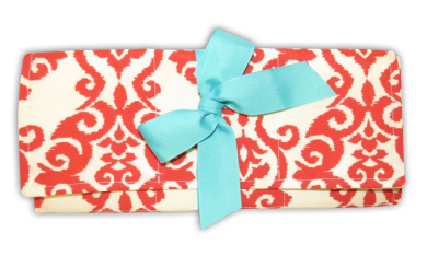 Caught Ya Lookin' Changing Pad, Red and Tan Fleur de Lis