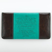 Checkbook Cover - Brown/Teal I Checkbook Cover - Brown/Teal I