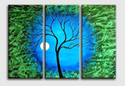 Framed Huge Size Abstract Blue Lucky tree Oil Painting living room decoration painting decorations for the home
