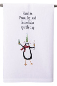 """Here's to Peace, Joy, and and Lots of Fake Sparkly Crap"" Penguin with Wine Christmas Kitchen / Bar Dish or Hand Guest Towel, 41cm X 60cm"