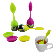 Voberry® 3pcs Hot Selling Creative Lovely Silicone Leaf Stainless Steel Tea Infuser Tea Ball Tea Bag filter Strainer