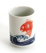 """Japanese 10cm H Porcelain Tea Sushi Coffee Cup """"Tai Fish Over Waves"""", Made in Japan"""