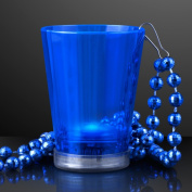 Blue Light Up Shot Glass on Party Bead Necklace