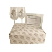10th Tin Wedding Anniversary Wine Glasses and Photo Frame Gift Set