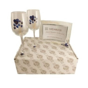 45th Sapphire Wedding Anniversary Wine Glasses and Photo Frame Gift Set