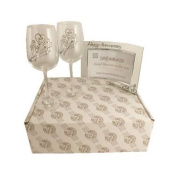 15th Crystal Wedding Anniversary Wine Glasses and Photo Frame Gift Set