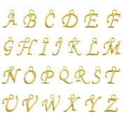 Beadnova 100pcs Assorted Gold Plated ABC Letter Alphabet Charm Pendant Loose Beads for Charm Bracelet Jewellery Making