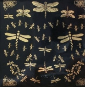Glass Accents Dragonflies Gold Decal