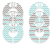 #C162 Grey Turquoise Boy Baby Closet Dividers Clothes Organisers Set of 6 Chevron