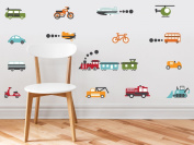 Transportation Fabric Wall Decals - Complete Set - Trains, Planes, Cars, Bikes, Tractors, and More - Standard Sized