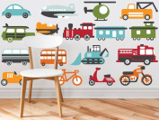 Transportation Fabric Wall Decals - Complete Set - Trains, Planes, Cars, Bikes, Tractors, and More - Jumbo Sized