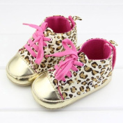 ChineOn Chic Newborn Baby Girl Infant Toddler Soft Warm Leopard Shoes Cack(Gold