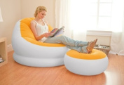 INTEX Inflatable Colourful Cafe Chaise Lounge Chair w/ Ottoman - Orange | 68572E