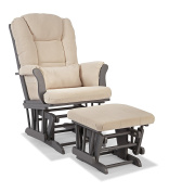 Stork Craft Tuscany Custom Glider and Ottoman with Free Lumbar Pillow, Grey/Beige