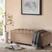"""Madison Park Shandra Bench Storage Ottoman with Tufted Top - Sand - 50.3W x19.29Dx18.89H"""""""
