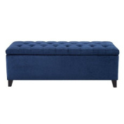Madison Park Shandra Bench Storage Ottoman with Tufted Top - Blue - 50.3W x19.29Dx18.89H""