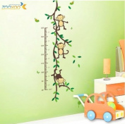 Hunnt® 110cm x 50cm Funny Monkey Forest Tree Growth Chart Height Chart Wall Vinly Decal Decor Sticker Removable Wall Decal For Nursery Children's Bedroom