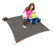 MONKEY MAT Portable Lightweight Indoor/Outdoor 1.5m x 1.5m Water/Sand Repellent Blanket with Corner Weights & Loops in Compact Pouch