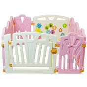 Puzzle and Beep Fun Baby Playpen, Kid Play Zone - 10 Panels (Pink) 1.2sqm