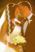 Bridal Wedding Mantilla Veil White 1 Tier Long Fingertip Length 1.3cm Lace Edge