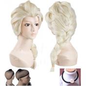 TOPWELL88 Frozen Princess Elsa Wig Light Blonde Cosplay Costume Anime Wig