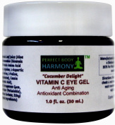 """""""Cucumber Delight"""" ANTI ageing EYE GEL with VITAMIN C (5%) + Wrinkle Reduction & Prevention Antioxidant Combination Moisturiser Gel + 70% Organic Ingredients Including Organic Herbal Infusion & Botanical Hyaluronic Acid (No Rooster Combs - Vegan Approv .."""