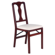 Stakmore Queen Anne Wood Folding Chairs with Upholstered Seat - Set of 2 Colour - Cherry