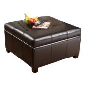 Storage Coffee Ottoman Dark Brown Espresso & Black - Lift Top Bench
