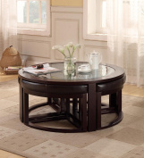100cm Round Coffee Table with 4 Wedge Stools - Espresso Finish