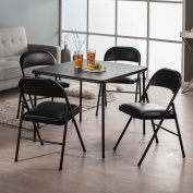 Meco Meco Sudden Comfort Deluxe Double Padded Chair and Back- 5 Piece Card Table Set - Black, 34L x 34W x 28H in. (Table), Black, 34L x 34W x 28H in.