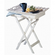 Elegant Shabby White Tv Television Breakfast Tray Stand
