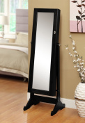 Black Mirrored Jewellery Cabinet Amoire W Stand Mirror Rings, Necklaces, Bracelets