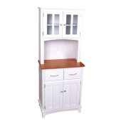 Home Source Industries Brook Tall Microwave Cabinet with 2-Drawer and an Upper and Lower Cabinet, White with Cherry Wood Finish