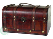 Decorative Wood Treasure Box - Wooden Trunk Chest