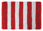 DII Contemporary Reversible Indoor Area Rag Rug, Machine Washable, Handmade from Recycled Fabrics, Unique For Bedroom, Living Room, Kitchen, Nursery and more, 0.6m x 0.9m - Red & White Stripes