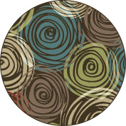 Universal Rugs 1015 Deco Round Contemporary Area Rug, 1.5m, Brown