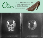 Cybrtrayd H167AB Medium 3D Skull Chocolate Candy Mould with 2 Moulds and Exclusive Cybrtrayd Copyrighted 3D Chocolate Moulding Instructions