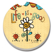 CounterArt Absorbent Stoneware Car Coaster, Life is Good-Flower